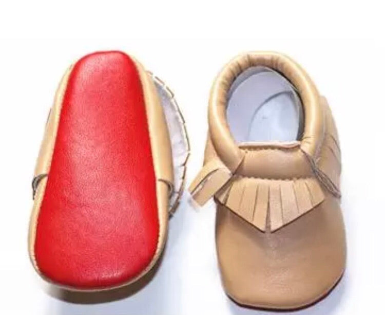 Red Bottom Louie Baby Fringe Moccasins - Tan