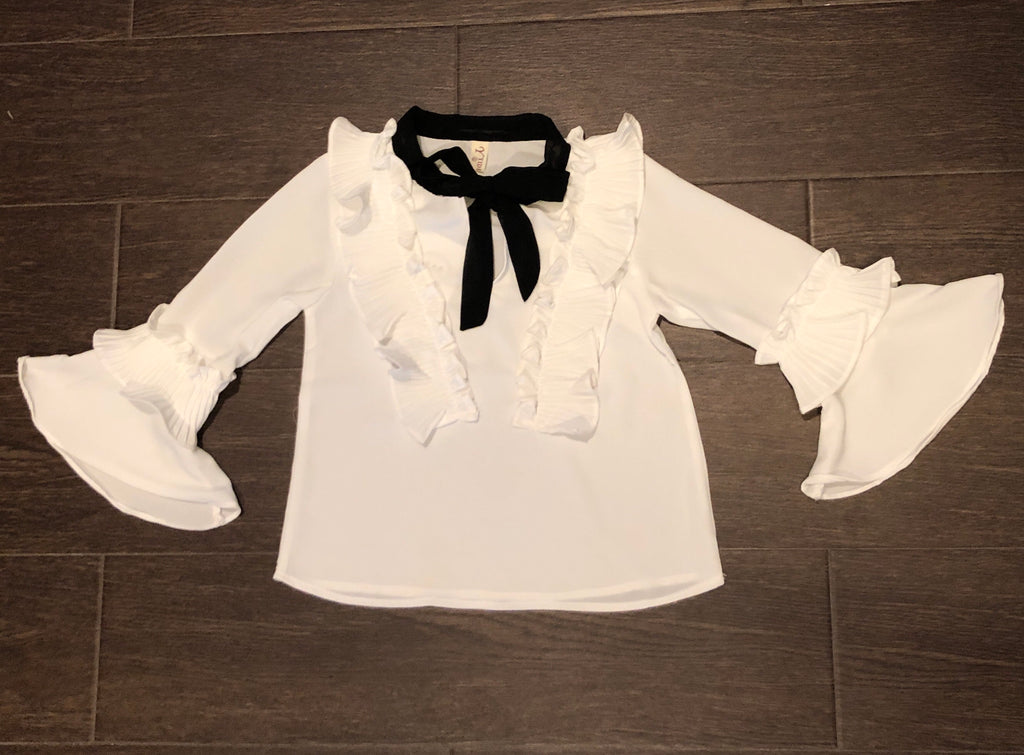 Black & White Tie Blouse