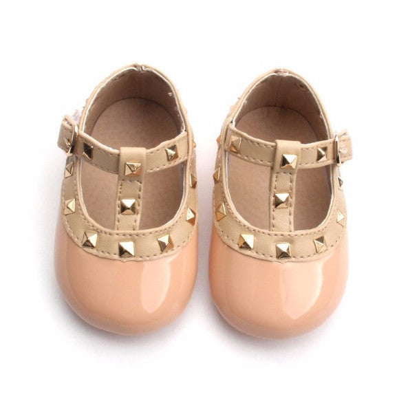 Baby Infant Rock Studded Crib Shoes- Beige