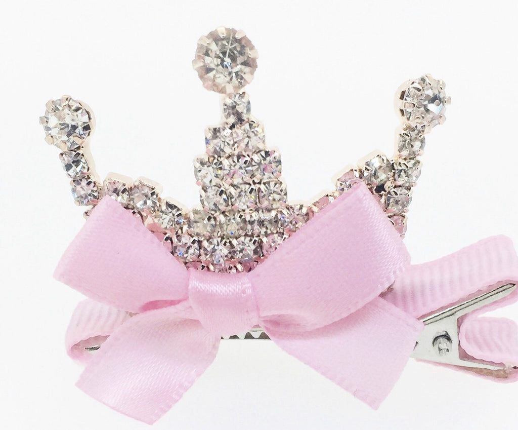 Rhinestone Tiara and Bow Hair Clip
