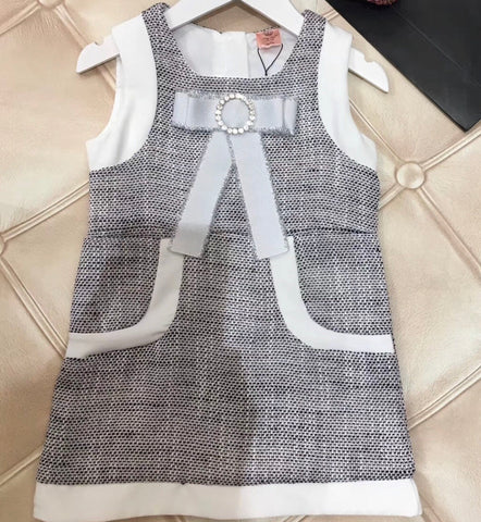 Charlotte Dress-Grey/White