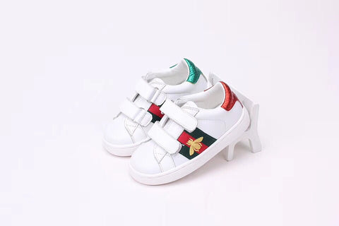 Kids GG Bee Striped Sneakers with logo