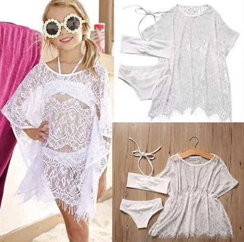 Kids White Bikini with Swim Cover-up