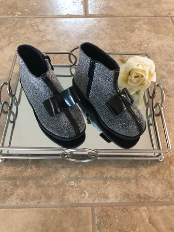 Sparkly Bow Booties -Black/Silver