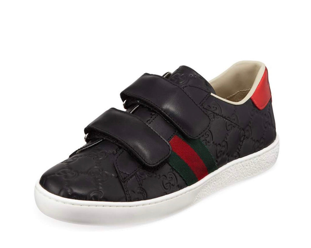 GG Black Monogram Striped Velcro Sneakers
