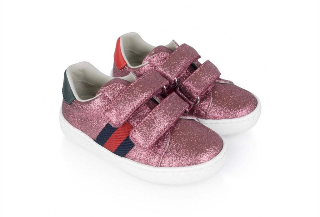 GG Pink Glitter Striped Sneakers