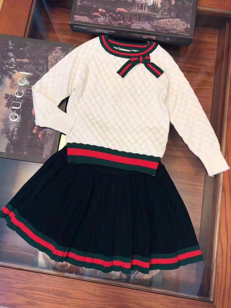 Striped Skirt Set-White
