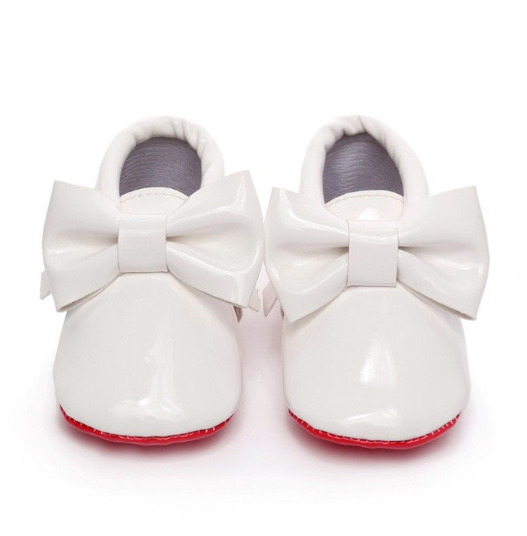 Red Bottom Patent Leather Bow Baby Moccasins Moccs-White