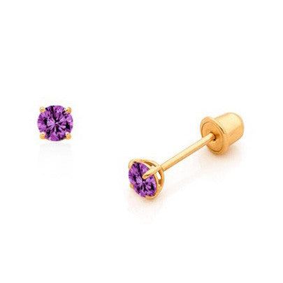 14 Karat Gold Birthstone Baby Earrings 3mm CZ Screwback