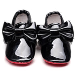 Red Bottom Patent Leather Bow Moccasins Moccs- Black