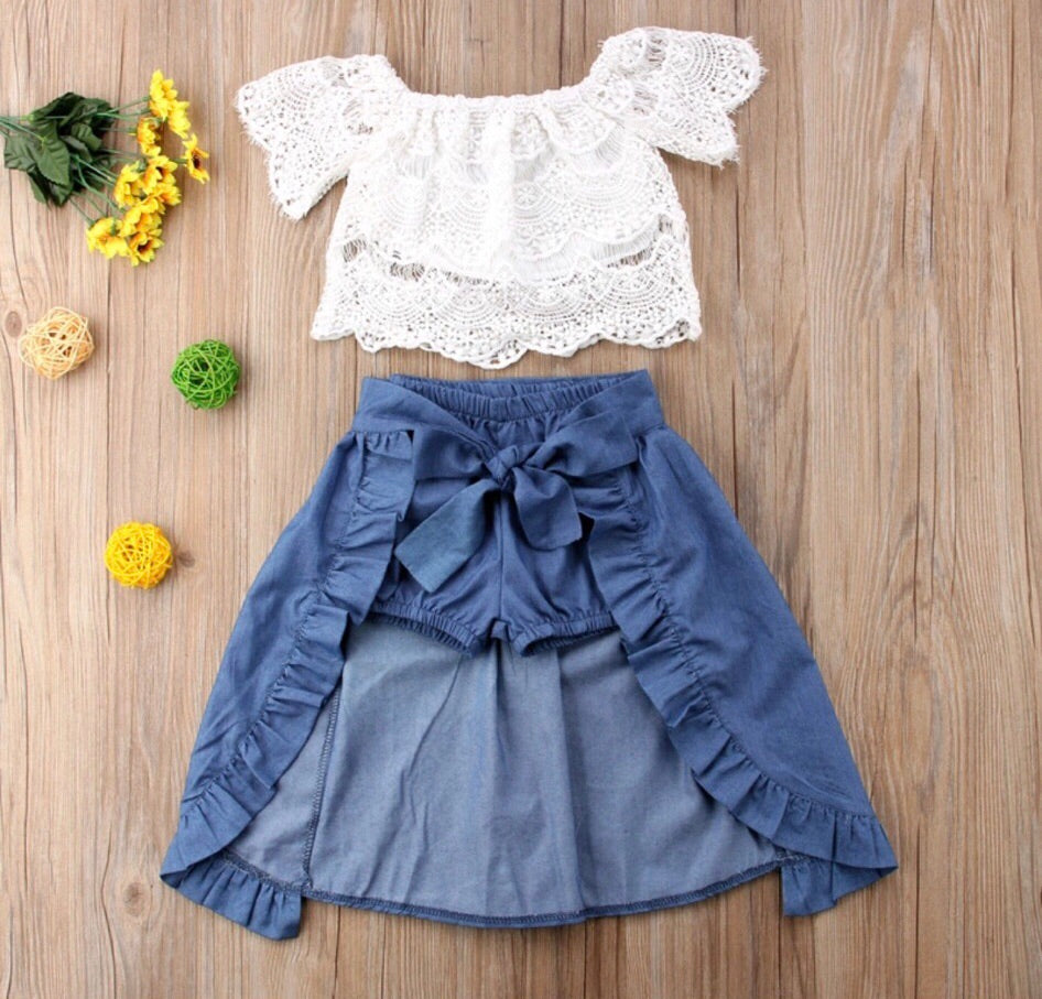 White Lace & Denim Set
