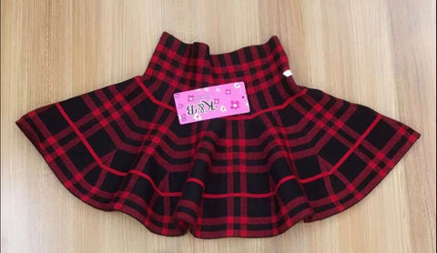 Red and Black Plaid Skirt