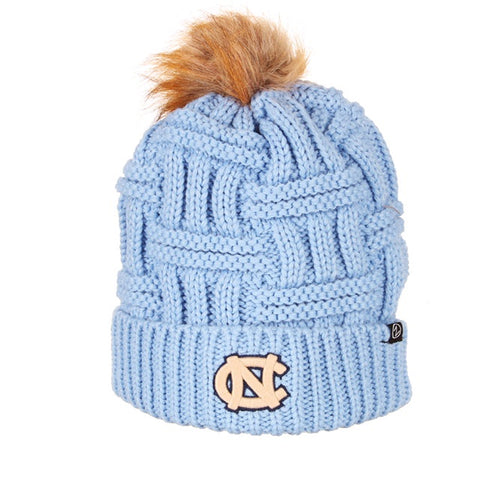 Theta by Zephyr - Carolina Blue Knit Hat with Fur Pom UNC Beanie