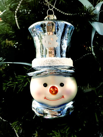 North Carolina Tar Heels Snowman in a Carolina Top Hat Glass Ornament
