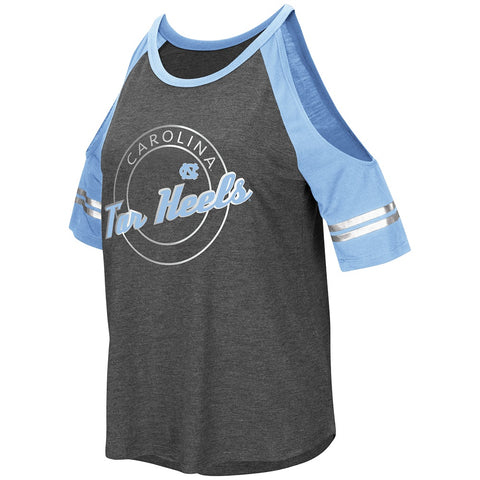 North Carolina Tar Heels Colosseum Women's Mae Cold Shoulder Tee -  Heather Charcoal/Carolina Blue