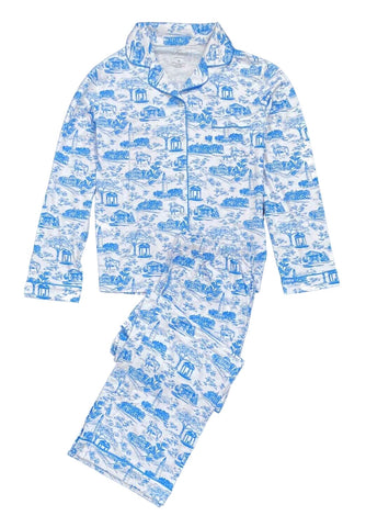 Tar Heel Toile Pajamas in White Long Sleeves Long Pants