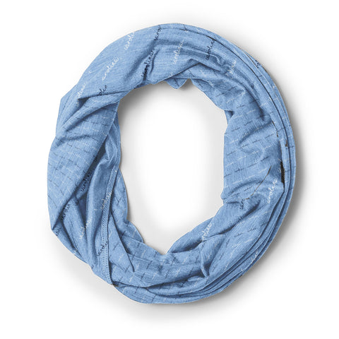 Carolina Blue Infinity Scarf with Cursive Carolina Logos all Over