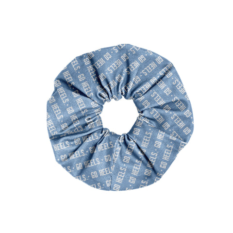 Carolina Blue Cloth Hair Scrunchie with Go Heels in White Text Repeating all over