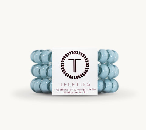 TELETIES Robin's Egg Large Corded Hair Ties - 3 Pack