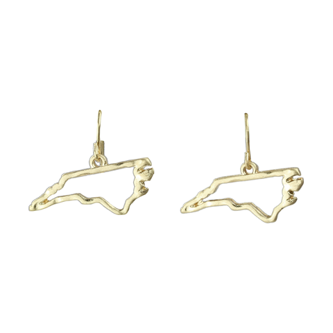 North Carolina State Outline Earrings in Gold