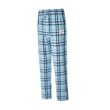 UNC Pajama Pants in Carolina Blue Plaid with Embroidered Logo