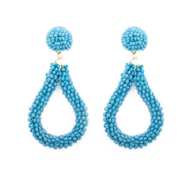 North Carolina Tar Heels Mainstreet Collection Blue Bead Loop Earrings