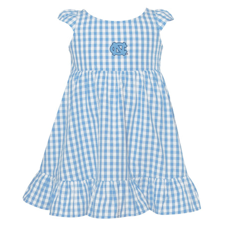 North Carolina Tar Heels Garb Gigi Toddler Girls Gingham Woven Dress Carolina Blue