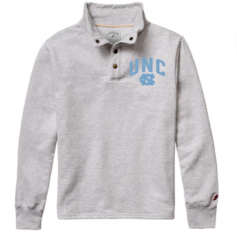 Ash Grey Snap Up Pullover Jacket with UNC Tar Heels Logo in Carolina Blue on the Left Chest