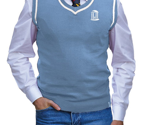 North Carolina Tar Heels Bruzer Sweater Vest - Carolina Blue with White Old Well