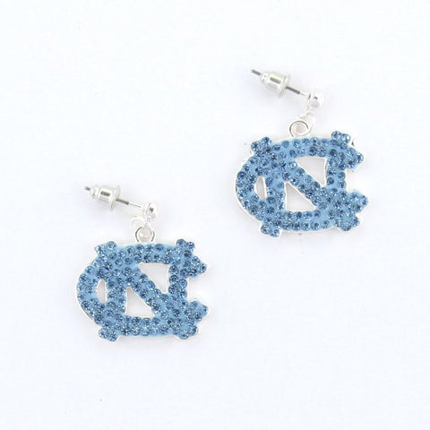 North Carolina Tar Heels Crystal Logo Earrings