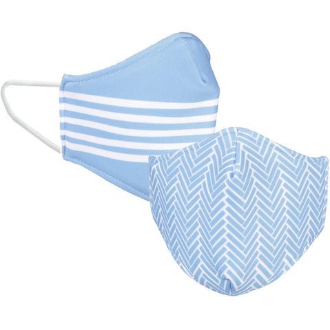 Carolina Blue Reversible Mask - 2 Sided Carolina Blue and White Designs