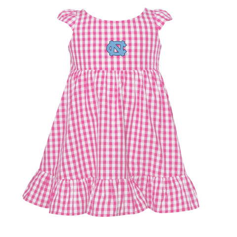North Carolina Tar Heels Garb Gigi Toddler Girls Gingham Woven Dress Pink