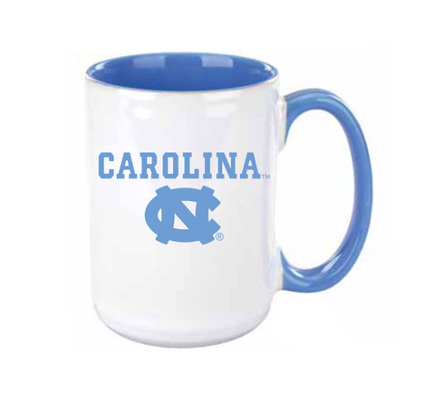 UNC Coffee Mug with Carolina Blue Logos 15 oz
