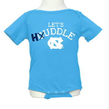 North Carolina Tar heels Klutch Let's Huddle Onesie - Carolina Blue