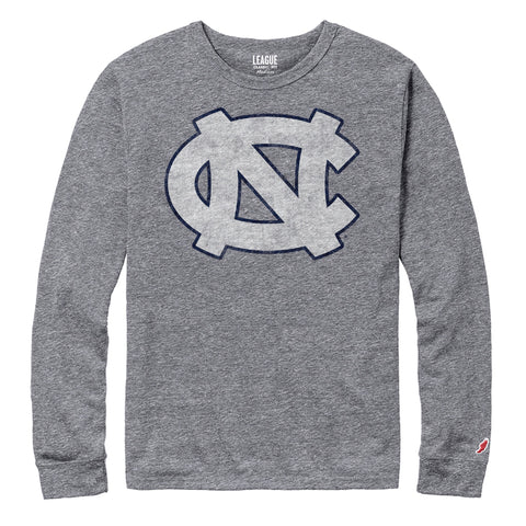 Heathered Grey Long Sleeve T-Shirt with North Carolina Tar Heels Logo