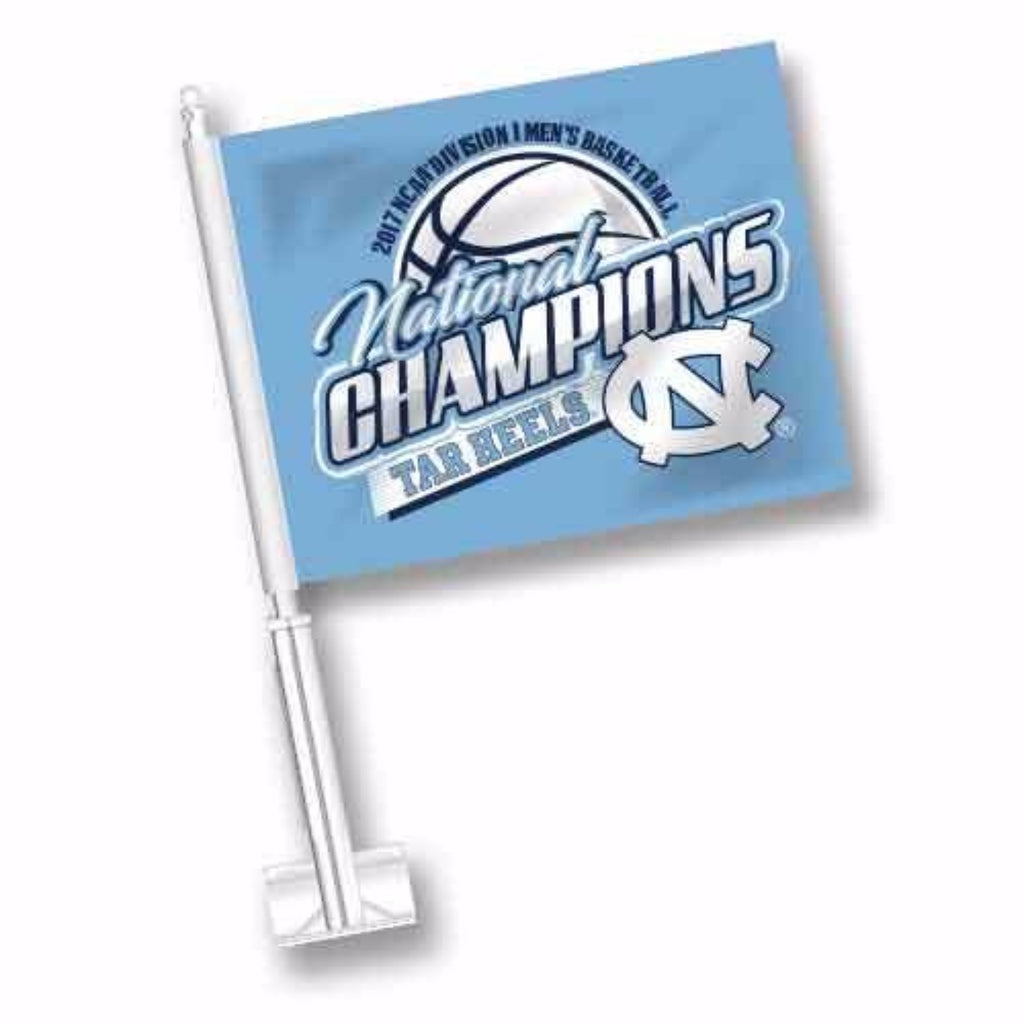 North Carolina Tar Heels 2017 National Champions Car Flag - Carolina Blue