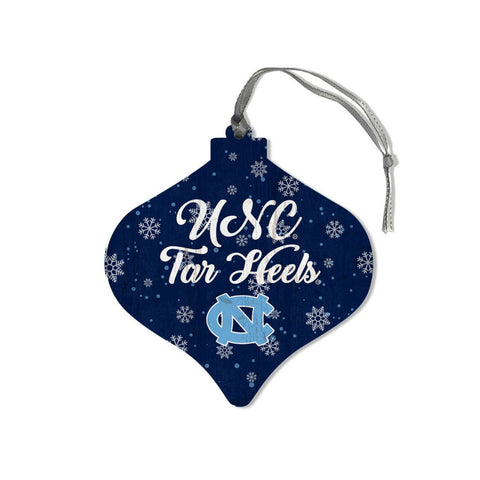 UNC Tar Heels Wooden Christmas Ornament - Navy and Bulb Shaped