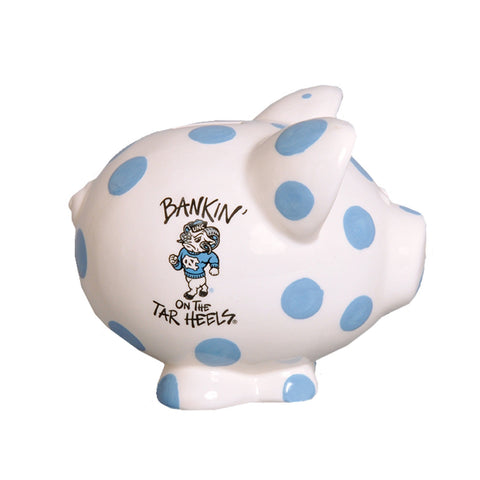 North Carolina Tar Heels Magnolia Lane UNC Rameses Mascot Piggy Bank