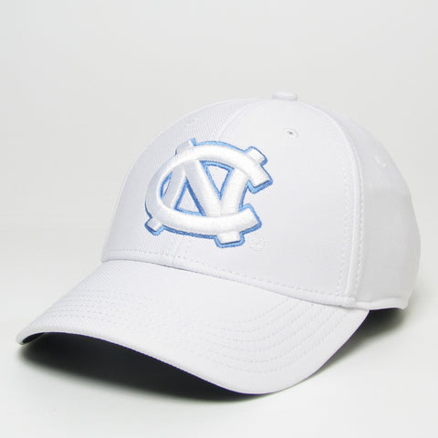 White Mens Adjustable Hat with White UNC Tar Heels Logo Large on the front