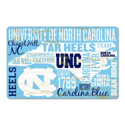 "North Carolina Tar Heels Wincraft UNC Wordage Wood Sign 11"" X 17"""