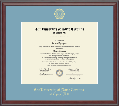 University of North Carolina Church Hill Classics Gold Embossed Diploma Frame Frame in Studio with Sky Blue Mat