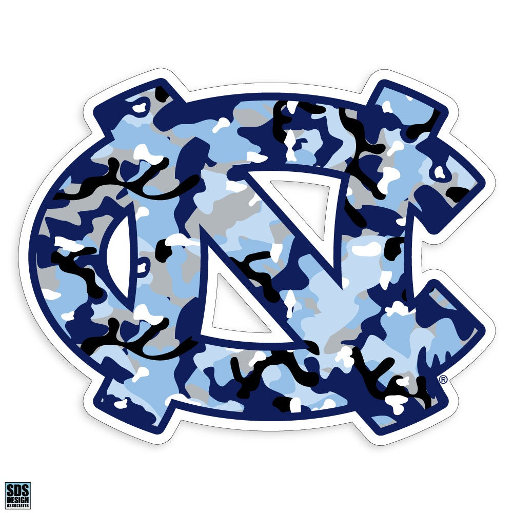 North Carolina Tar Heels Interlock Logo Decal - Carolina Blue Camo