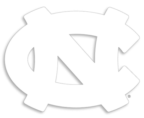 North Carolina Tar Heels Interlock Logo Decal - White