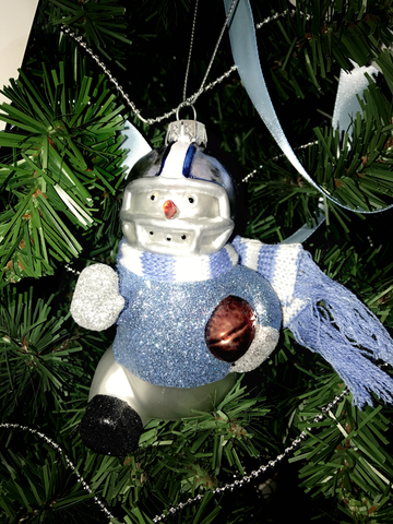 Blown Glass Snowmen Player Ornament