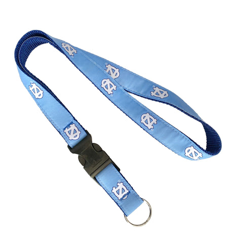 UNC Lanyard with Keychain Release Clip in Carolina Blue Embroidery