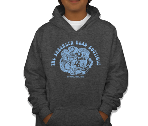 Dark Heather Grey Shrunken Head Boutique Youth Hoodie