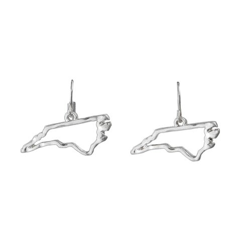 North Carolina State Outline Earrings in Silver