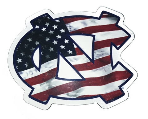North Carolina Tar Heels American Flag NC Interlock 3 Inch Magnet