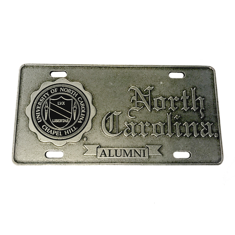 North Carolina Tar Heels Pewter UNC Alumni License Plate