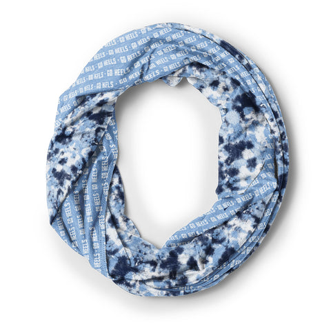 Carolina Blue Infinity Scarf with Go Heels Repeating and UNC Spirit Colors Tie Dye